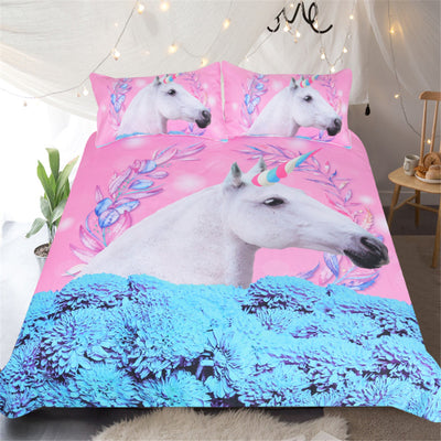 Unicorn in the Flowers Bedding Set (3PCS)