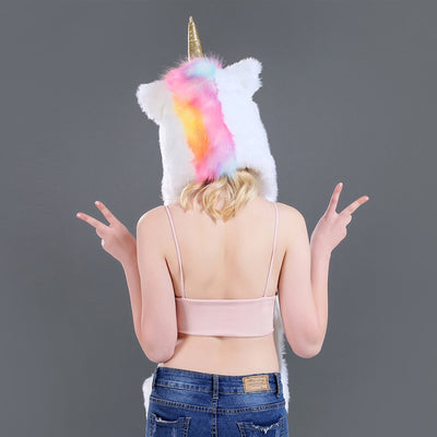 Unicorn Faux Fur Hooded Scarf