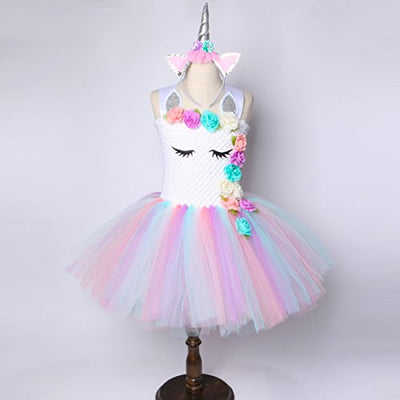 Unicorn Tutu Dress for Girls Kids Birthday Party Unicorn Costume Outfit with Headband