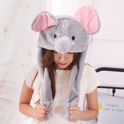 Funny Plush Bunny Hat/Cute Animal Hat/Rabbit Hat with The Ears Popping Up When Pressing The Paws