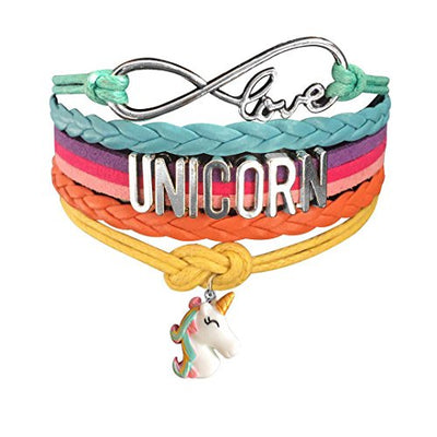 Cute Unicorn Bracelet Wristband Handmade Rainbow Jewelry Infinity Love Charm Gifts
