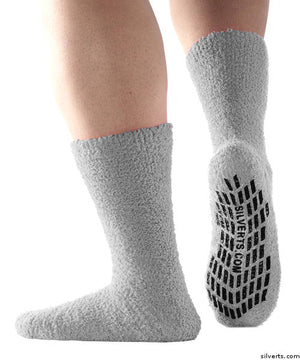 Hospital Socks - Non Skid / Anti Slip Grip Socks For Women / Mens Non Slip Socks - Fuzzy Gripper Socks - Regular Size & Xl Bariatric
