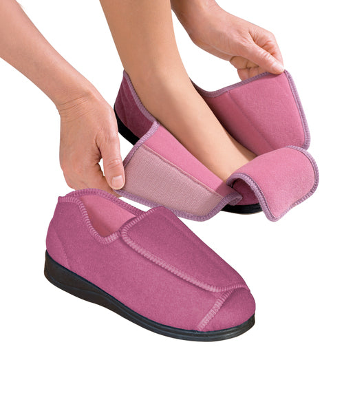 Womens Extra Extra Wide Width Adaptive Slippers - Deep Diabetic & Edema