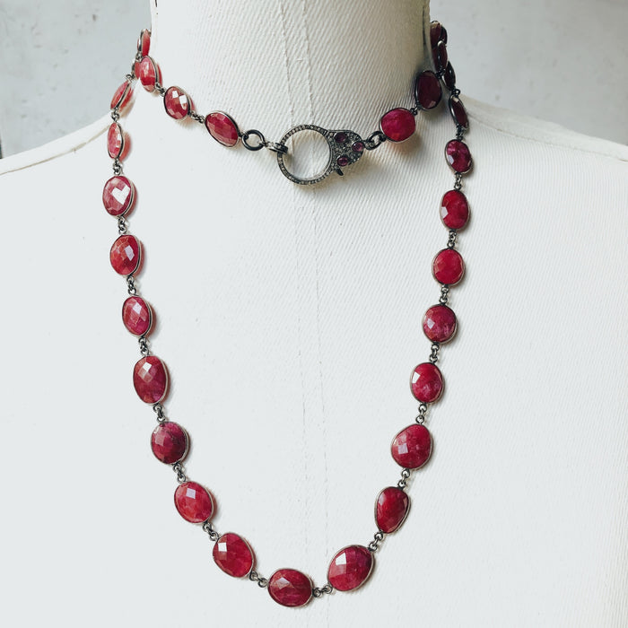 The Ruby Red Faceted Necklace