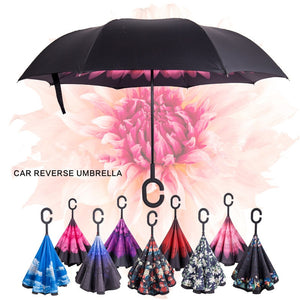 Windproof Reverse Double Layer Umbrella  C-Hook Hands For Car - Luxur Path