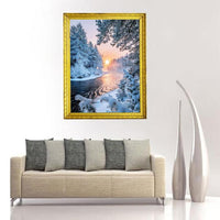 2019 Winter Tranquil Forest And Sunset Nature Rhinestone Cross Stitch UK VM1364