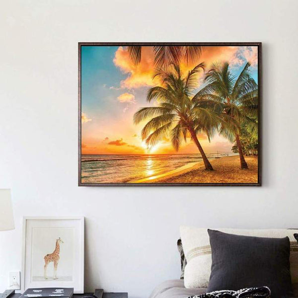Hot Sale The Gold Charming Seaside Evening Diamond Painting Kits AF9571