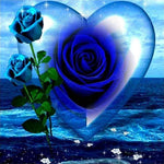 Pretty Heart-shaped Blue Rose Diamond Painting Kits UK AF9319