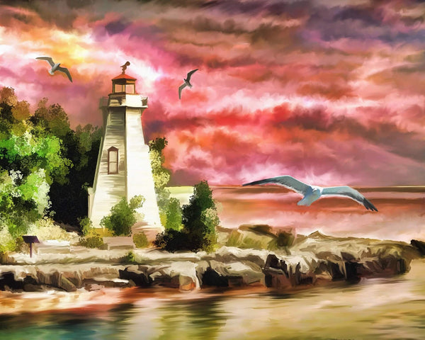 2019 Oil Painting Style Lighthouse Scenery Diy 5d Diamond Painting Kits UK VM8028