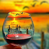 Popular Special Glass Sunset Pattern 5d Diy Diamond Painting Kits UK QB8207