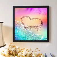 Beach Heart Pattern Valentines Day Crystal Diamond Painting UK VM1021