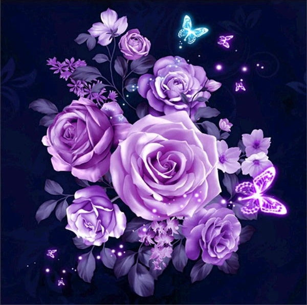 Special Cheap Lavender Flowers 5d Diy Diamond Painting Kits UK VM1092