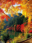 Autumn Mountain Lake Diy 5d Crystal Diamond Painting UK VM95027