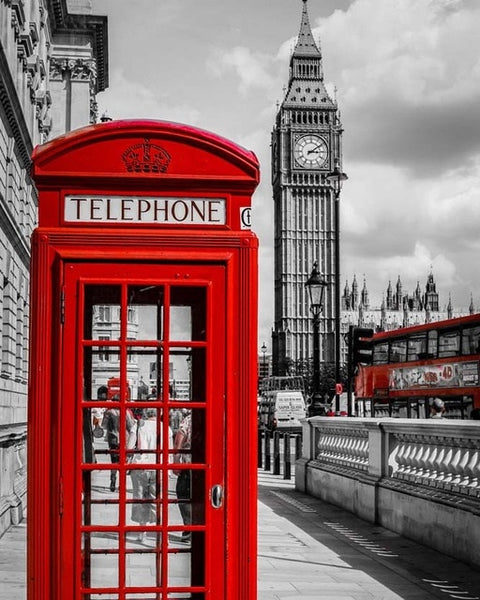 2019 Modern Art Red Telephone Booth 5d Diy Diamond Painting Street UK VM3317