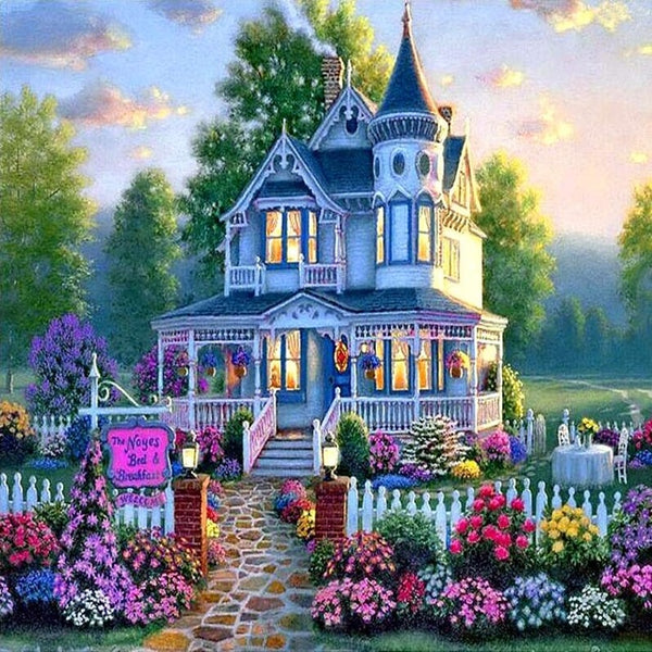 New Hot Sale Cottage Villa 5d Diy Diamond Painting Kits UK VM9117