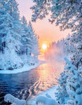 Dream Series Snow-covered Forest WIth Warm Sunshine Diamond Painting Kits UK VM1364