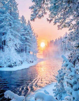 Dream Series Snow-covered Forest WIth Warm Sunshine Diamond Painting Kits UK Af9724