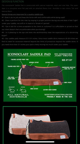 Iconoclast Saddle Pad Tan