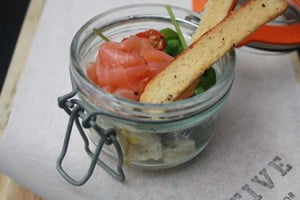 Glenarm Smoked Salmon Served on a Yellow Door Soda Bread Croute With a Dulse & Lemon Creme Fraiche