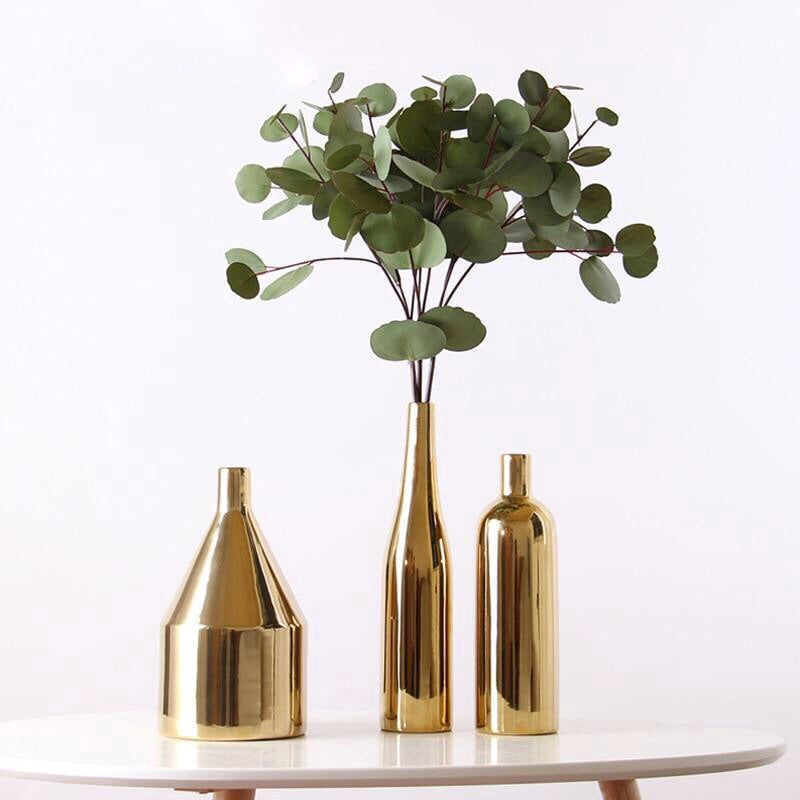 Gold Plated Ceramic Vase Set