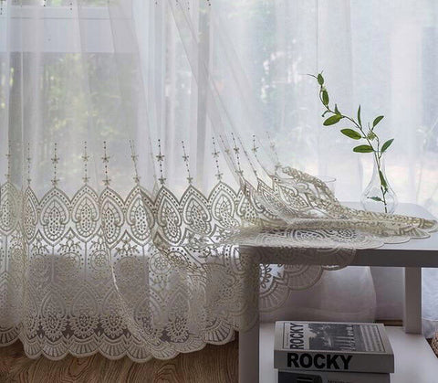 Delicate Embroidered Tulle Curtains