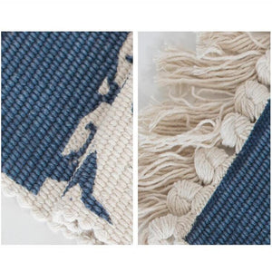 Blue Woven Rug with Tassels