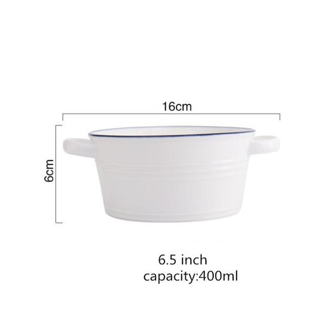 Blue Line White Ceramic Bowl