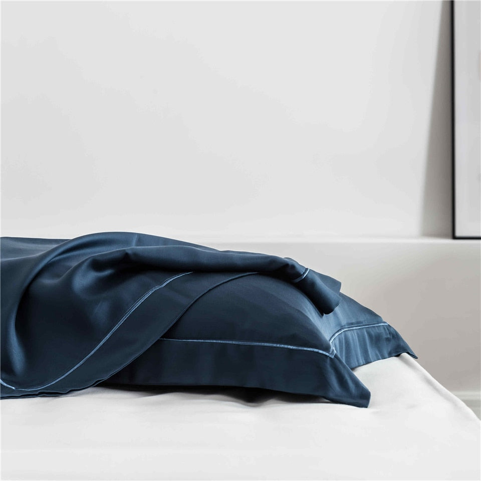 Dark Blue Silk  Pillowcase