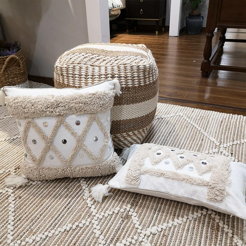White Geometric Cushion Cover