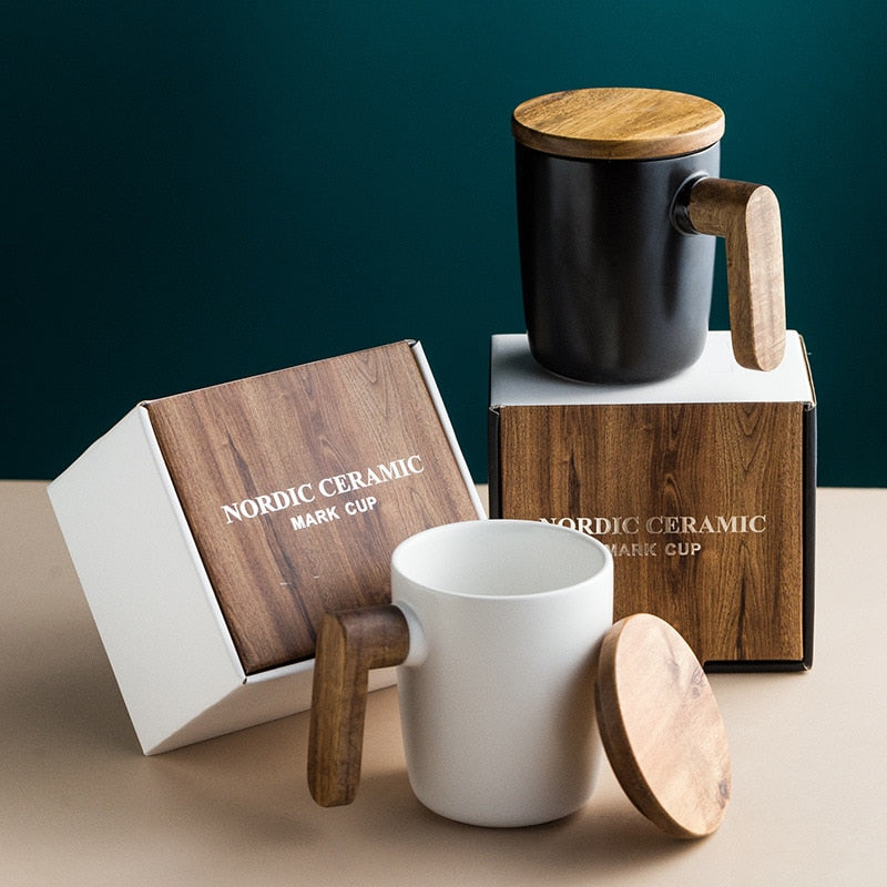 Ceramic Wood Mug Set