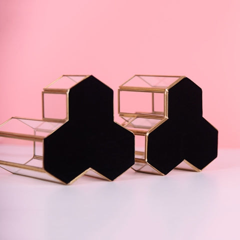 Glass Copper Hexagon Pen Holder