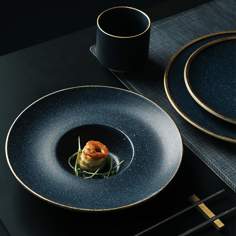 Gold Black Dinnerware