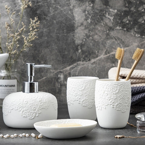 White Floral Bathroom Accessories Set