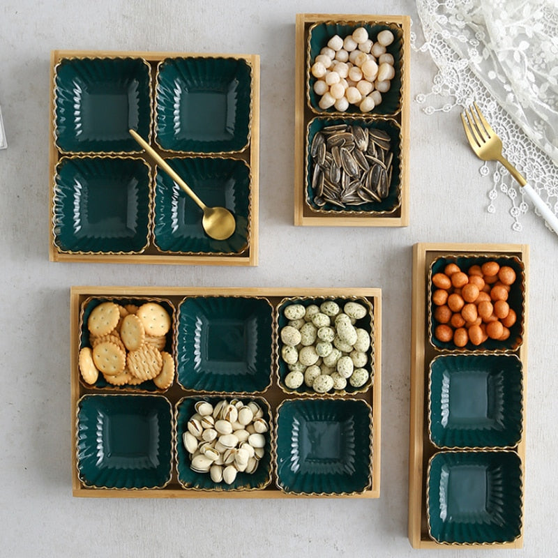 Gold Green Tray Set