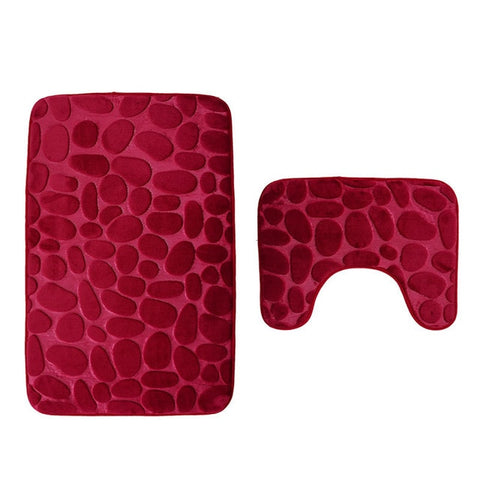 Red Embossed Bathroom Set