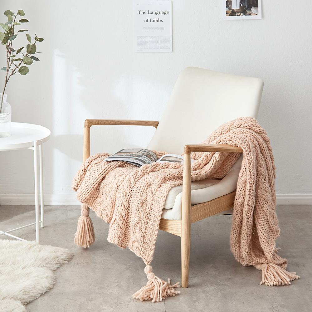 Rose Knitted Throw Blanket
