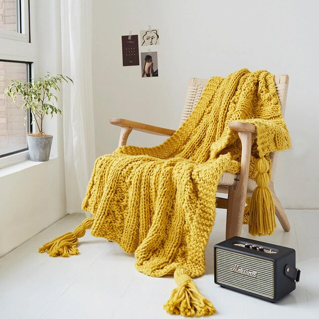 Yellow Knitted Throw Blanket