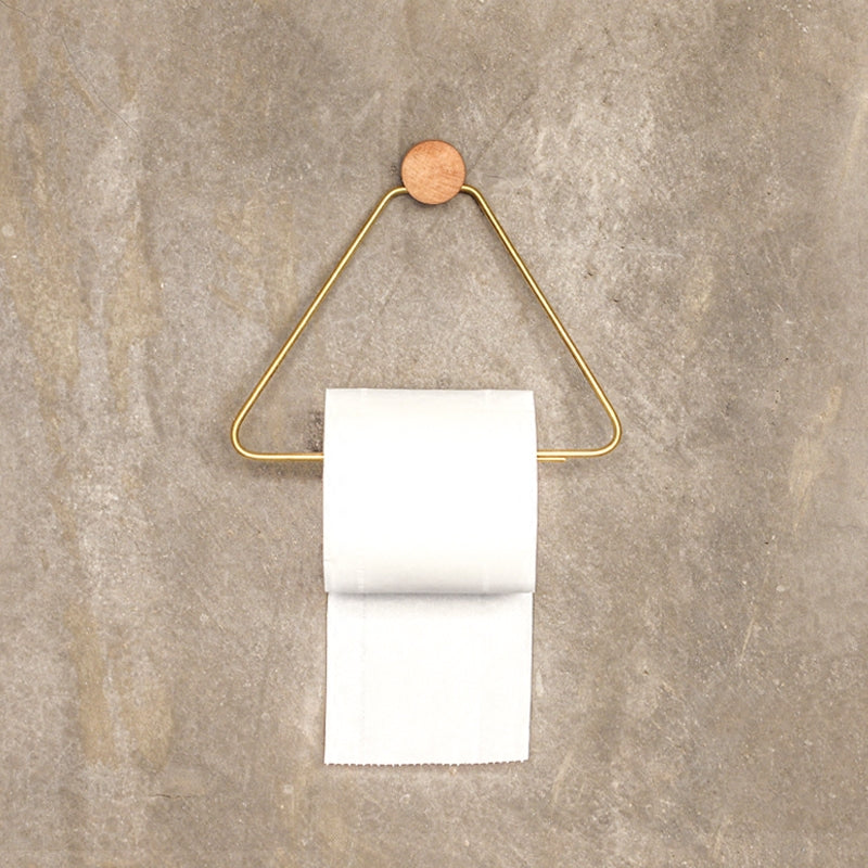 Nordic Wood Metal Wall Toilet Roll Holder