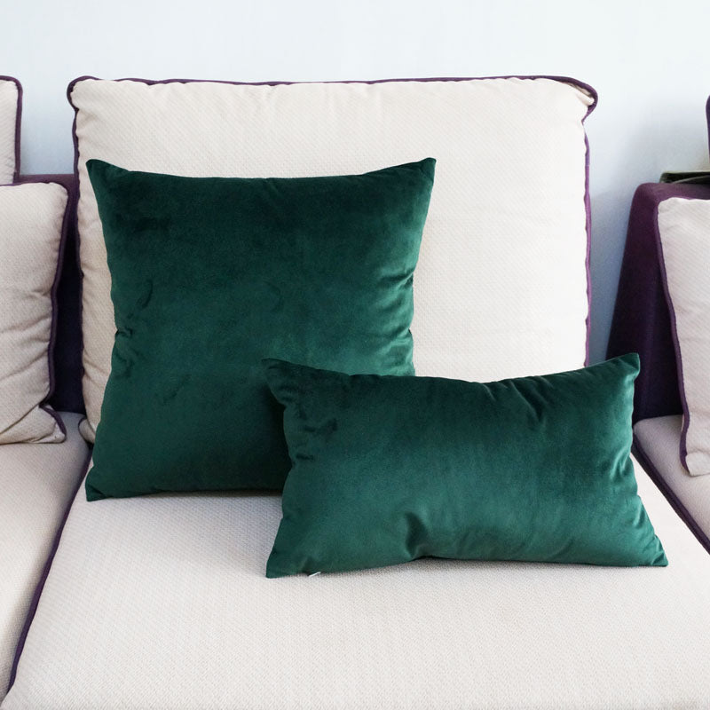 Soft Emerald Green Velvet Cushion Cover