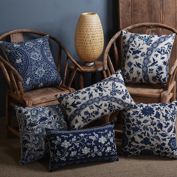 Blue And White Cushion Cover