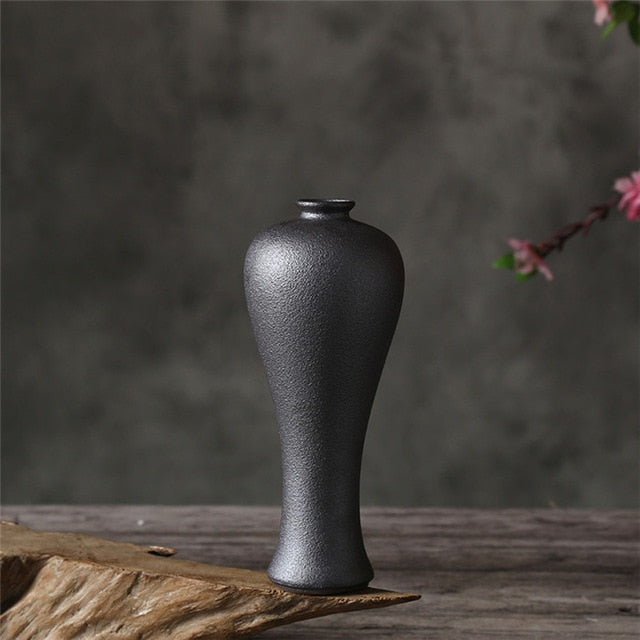 Ceramic Pottery Vase Hydroponic Black