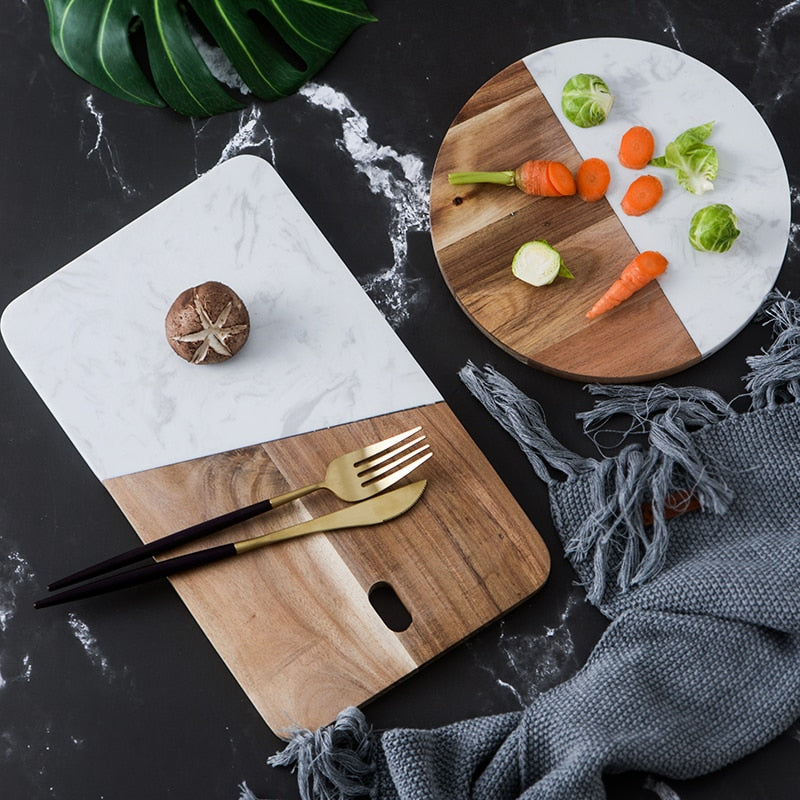 Stone and wood cutting board