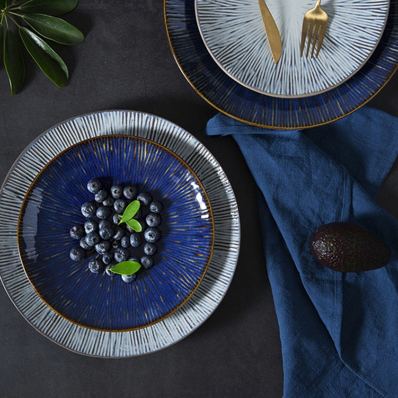 Glaze blue and light grey  ceramic Plate set