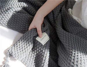 Knitted Thread Throw Blanket with Tassel