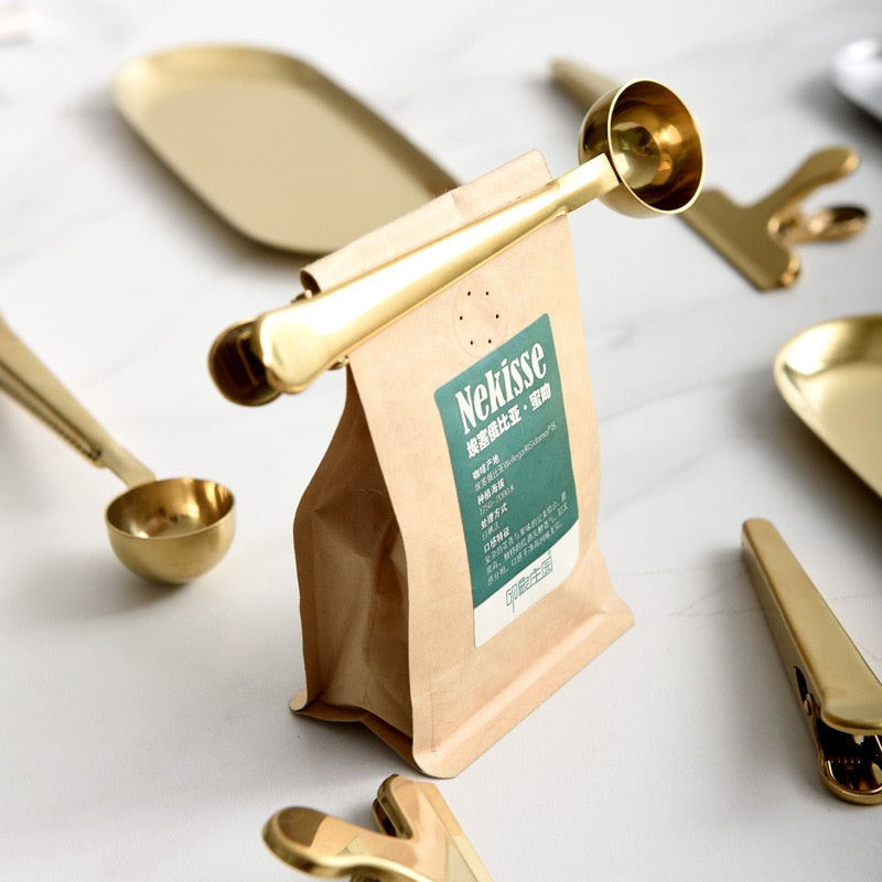 Gold Coffee Spoon With Sealing Clip