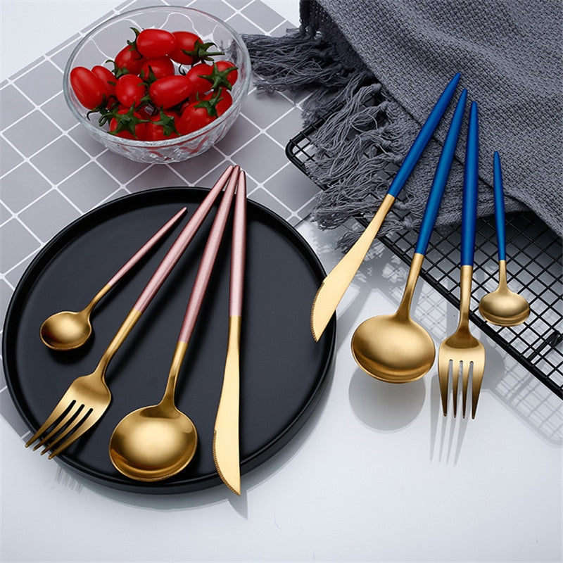 Gold Colors Tableware Cutlery Set