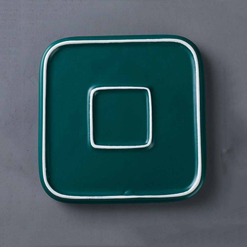 Green Golden Square Plate