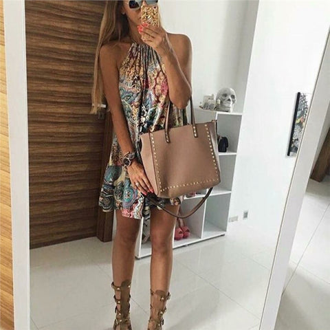Boho Print Beach Floral Dress (Halter Neck)-This Fashion Woman