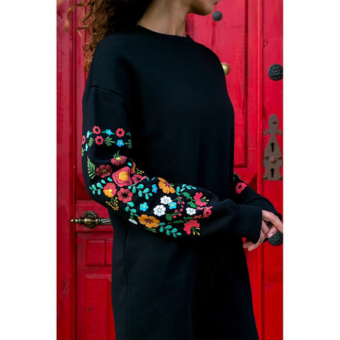 Casual Long Sleeve Floral Embroidery Sweatshirt Dress-This Fashion Woman