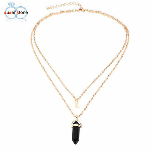 SUSENSTONE Crystal Opals Pendant Necklace Choker Chain-This Fashion Woman